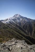 南アルプス小太郎尾根より望む冠雪した北岳