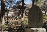 景徳院の山門と勝頼夫人の辞世の句を記した石碑 10743000159| 写真素材・ストックフォト・画像・イラスト素材|アマナイメージズ
