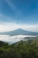 新道峠より望む雲海越しの富士山 10743000402| 写真素材・ストックフォト・画像・イラスト素材|アマナイメージズ
