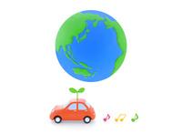 地球と車と新芽