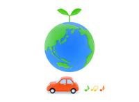 地球と新芽と車