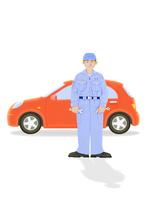 整備士と赤い車