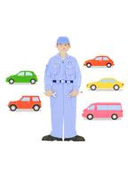 整備士と5台の車 10757000950| 写真素材・ストックフォト・画像・イラスト素材|アマナイメージズ