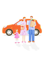 家族3人と車