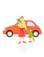 お母さんと子供と車