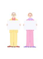 老夫婦とホワイトボード