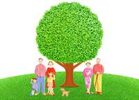 二世帯家族と大樹
