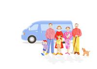 二世帯家族と車 10757001050| 写真素材・ストックフォト・画像・イラスト素材|アマナイメージズ
