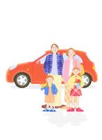 家族4人と車