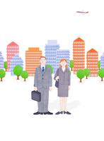 ビジネスマンとOLとビル群 10757001075| 写真素材・ストックフォト・画像・イラスト素材|アマナイメージズ