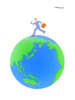 走るビジネスマンと地球