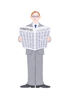 新聞を読むビジネスマン 10757001142| 写真素材・ストックフォト・画像・イラスト素材|アマナイメージズ