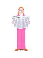 新聞を読むビジネスウーマン
