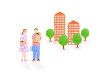 若い夫婦とマンション 10757001163| 写真素材・ストックフォト・画像・イラスト素材|アマナイメージズ