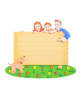 看板と家族とペット 10757001180| 写真素材・ストックフォト・画像・イラスト素材|アマナイメージズ