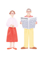新聞を読むおじいさんと妻