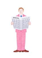 新聞を読むビジネスマン 10757001221| 写真素材・ストックフォト・画像・イラスト素材|アマナイメージズ