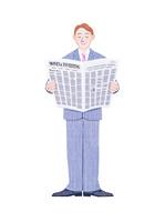 新聞を読むビジネスマン 10757001224| 写真素材・ストックフォト・画像・イラスト素材|アマナイメージズ