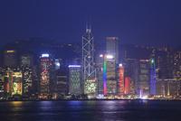 九龍・尖沙咀,プロムナードから望む香港島の夜景