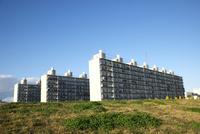 土手の向こう側に見える三つ並んだマンション