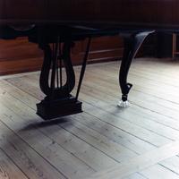 グレーっぽい木の床の上のグランドピアノの足とペダル