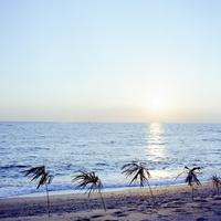 夏が終わった夕陽と海