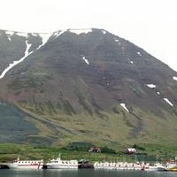 アイスランドの北西部ウェストフィヨルド地方のフラトエイリのフィヨルドの山肌と港