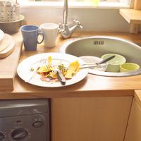 イギリスのキッチンのシンクに洗うためにおかれたカップやボウルとマンゴーの皮がのったプレート
