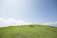 草原で手を広げる男性