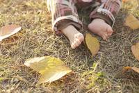 落ち葉と赤ちゃんの足 10770000399| 写真素材・ストックフォト・画像・イラスト素材|アマナイメージズ