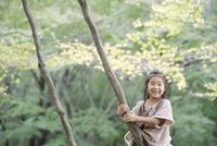 木の上で微笑む少女