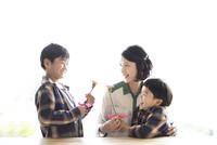 母親にカーネーションをプレゼントする兄弟 10778001886| 写真素材・ストックフォト・画像・イラスト素材|アマナイメージズ