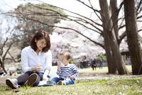 公園でお弁当を食べている赤ちゃんと母親