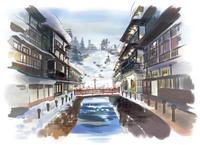 雪の積もった川沿いに立ち並ぶ温泉宿