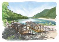 四万十川の川岸に停留する屋形船