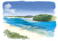 石垣島の川平湾に停留する船と青い海