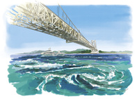 観潮船から望むうずしおと大鳴門橋