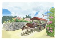 民家の間を力強く通る水牛車 10822000019| 写真素材・ストックフォト・画像・イラスト素材|アマナイメージズ