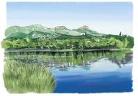 知床三湖から望む知床連山