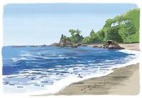 砂浜から見渡す桂浜