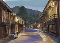 秋の日暮れに中山道を散策し妻籠宿へ 10822000028| 写真素材・ストックフォト・画像・イラスト素材|アマナイメージズ