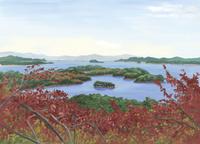 広大な松島湾と紅葉をのぞむ