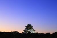 夕暮れの大阪城天守閣(ライトアップ)