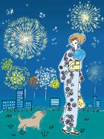 花火を楽しむ浴衣の女性と犬
