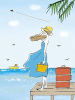 海を眺める女性 10846000018| 写真素材・ストックフォト・画像・イラスト素材|アマナイメージズ