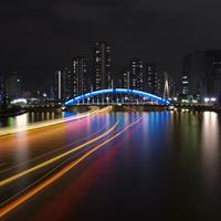 屋形船の光跡と永代橋