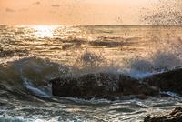 夜明けの波しぶき