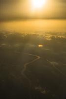 空撮 朝日と川