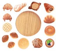 パンと木のお皿_バラ