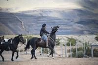 パタゴニアの牧童ガウチョの乗馬風景
